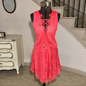 Adelyn Rae Coral Pink Lace Suzanne Party Dress
